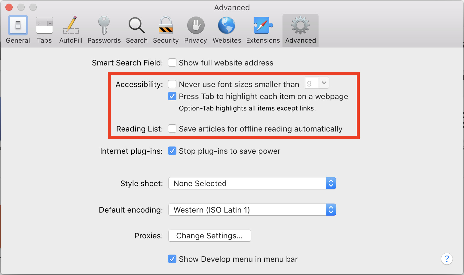 Screenshot of Safari's Advanced preferences, with Accessibility preferences outlined in red