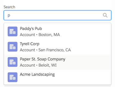Screenshot of a 'Search' combobox with the letter 'p' typed in its input field. A dropdown list shows 4 Account search results that match the search criteria.