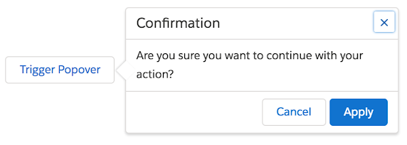 Screenshot of a 'Confirmation' non-modal dialog next to a 'Trigger Popover' button. Keyboard focus is on an 'x' button in the dialog.
