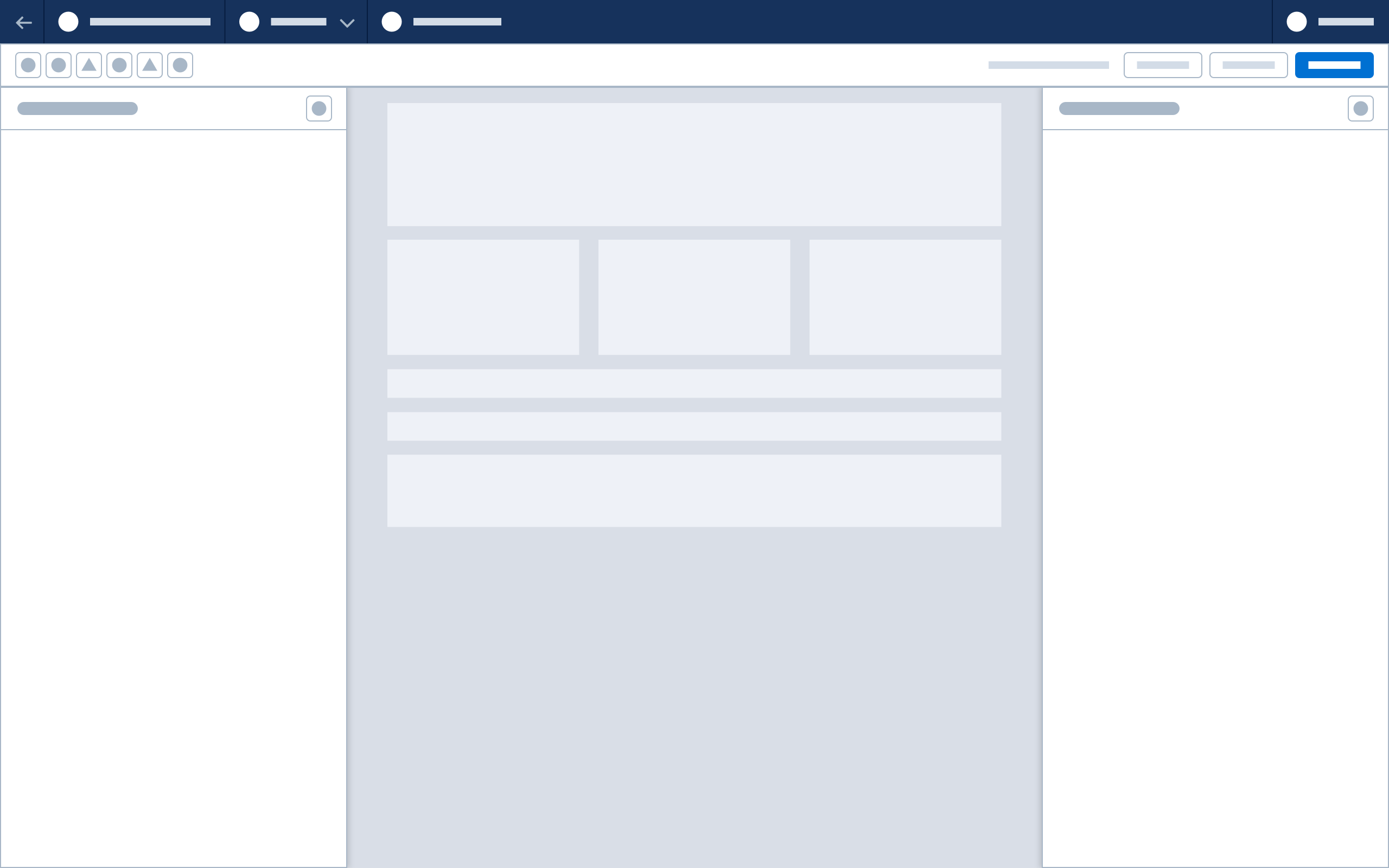 A wireframe showing a flexible panel configuration with header, canvas, rail, and floating panel