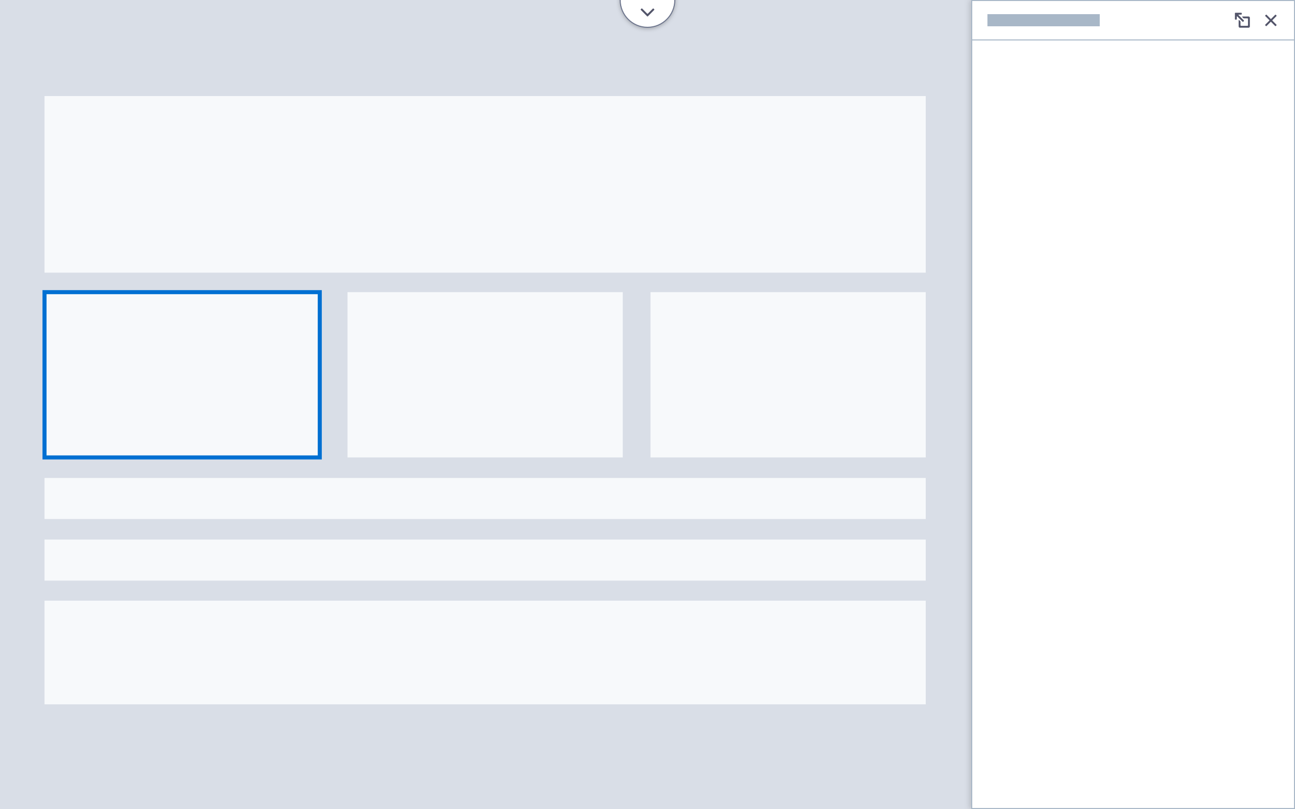 A wireframe showing a full-screen canvas with docked right-side panel