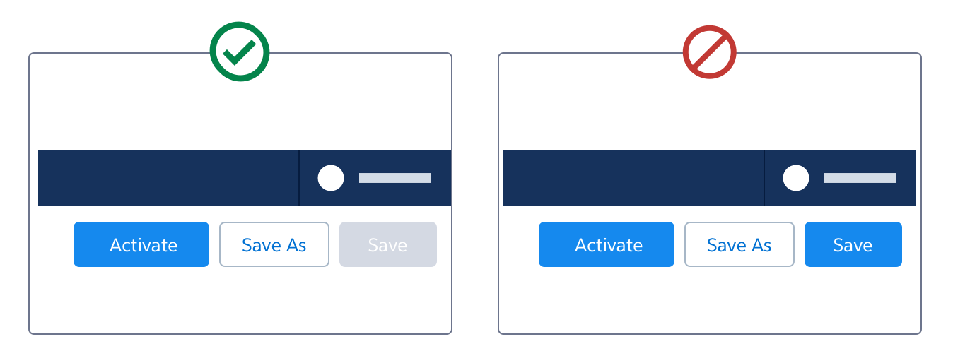 A wireframe showing the incorrect use of two brand buttons on the right side of the header.