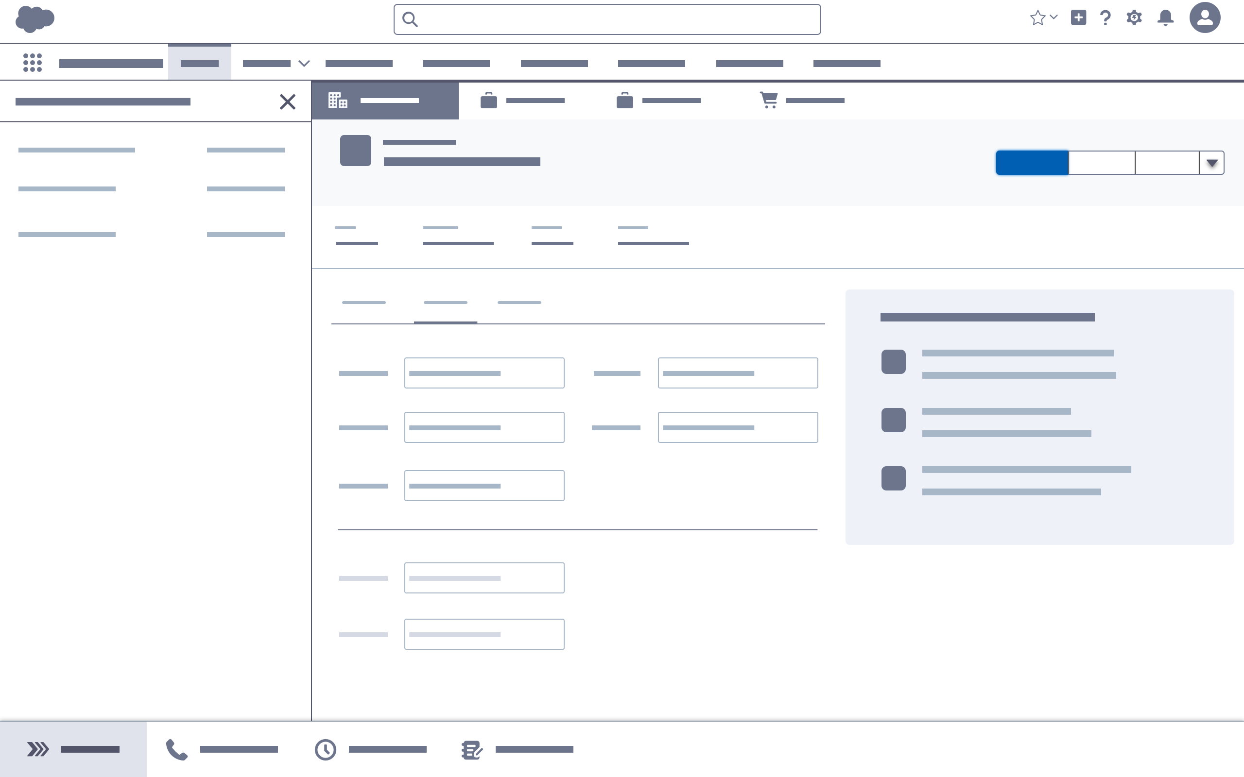 Record view in a Salesforce Console app; blue brand button opens the builder