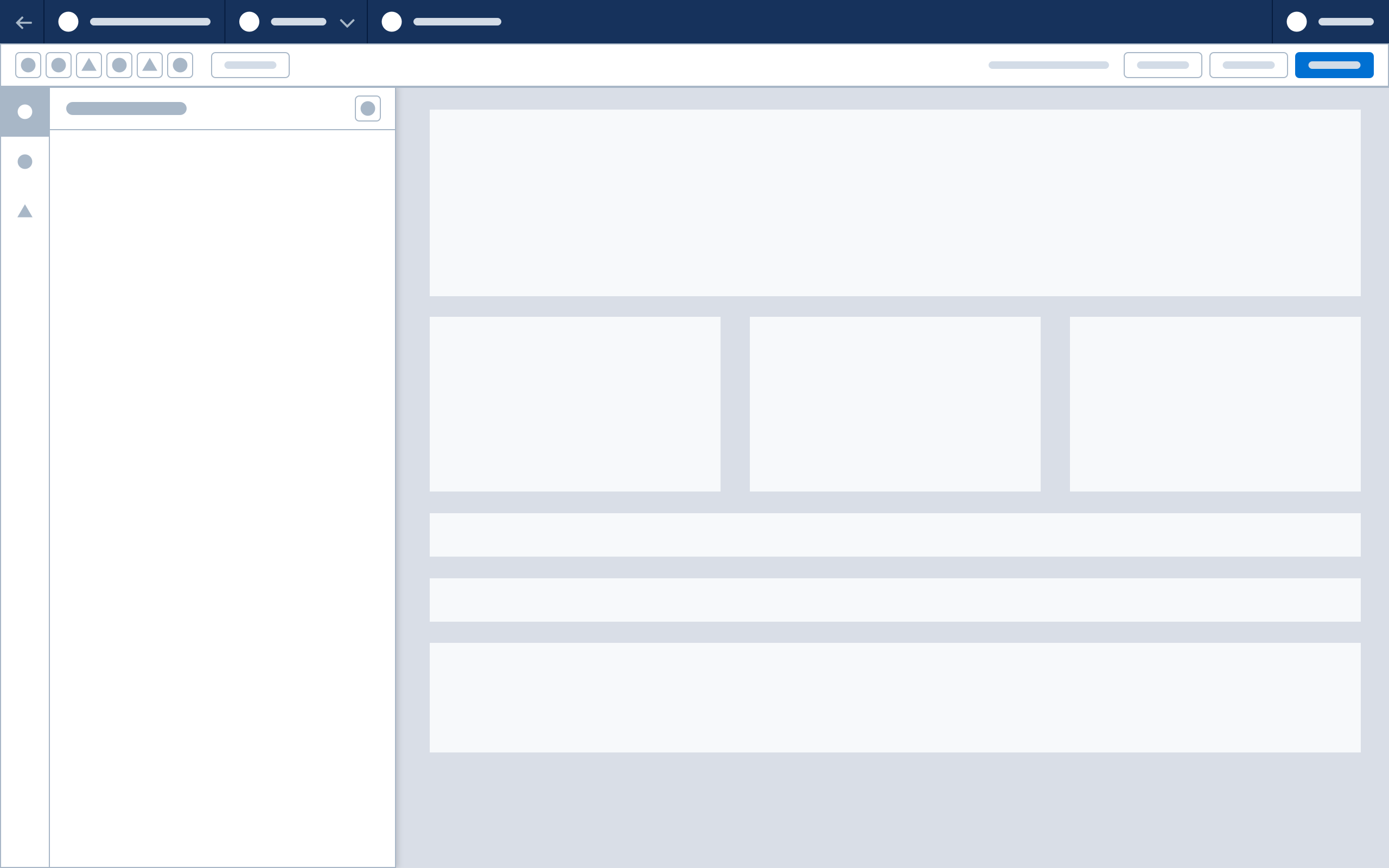 Wireframe showing the vertical tab bar with open panel.