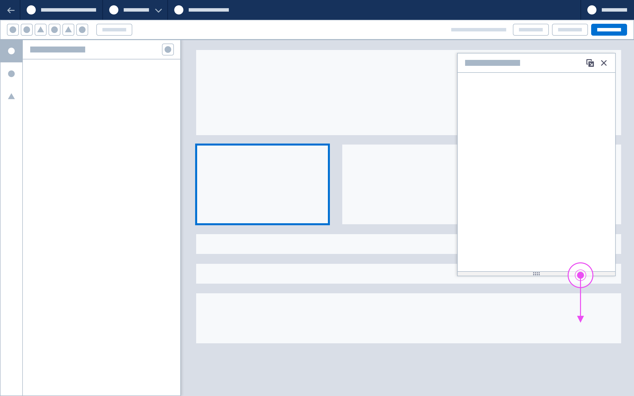 A wireframe showing how a floating panel can be resized.