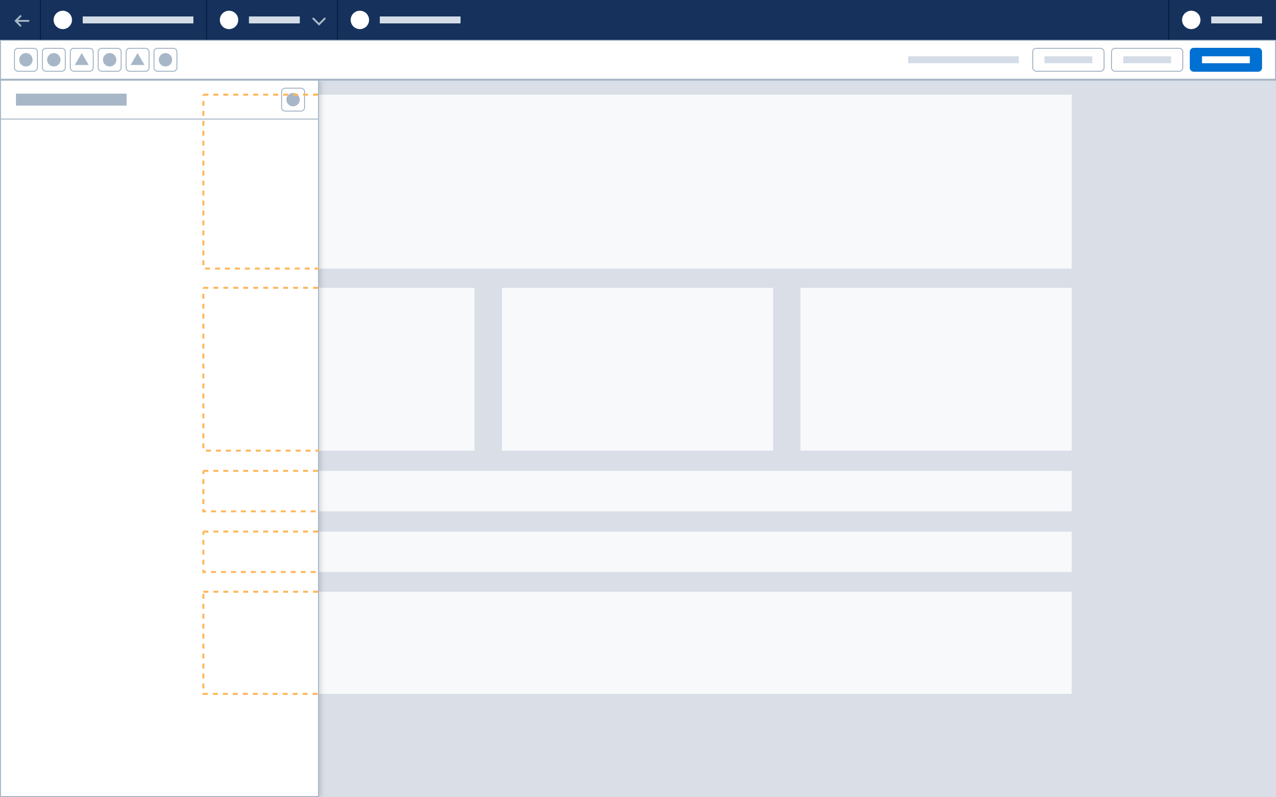 A wireframe showing panel overlay behavior.