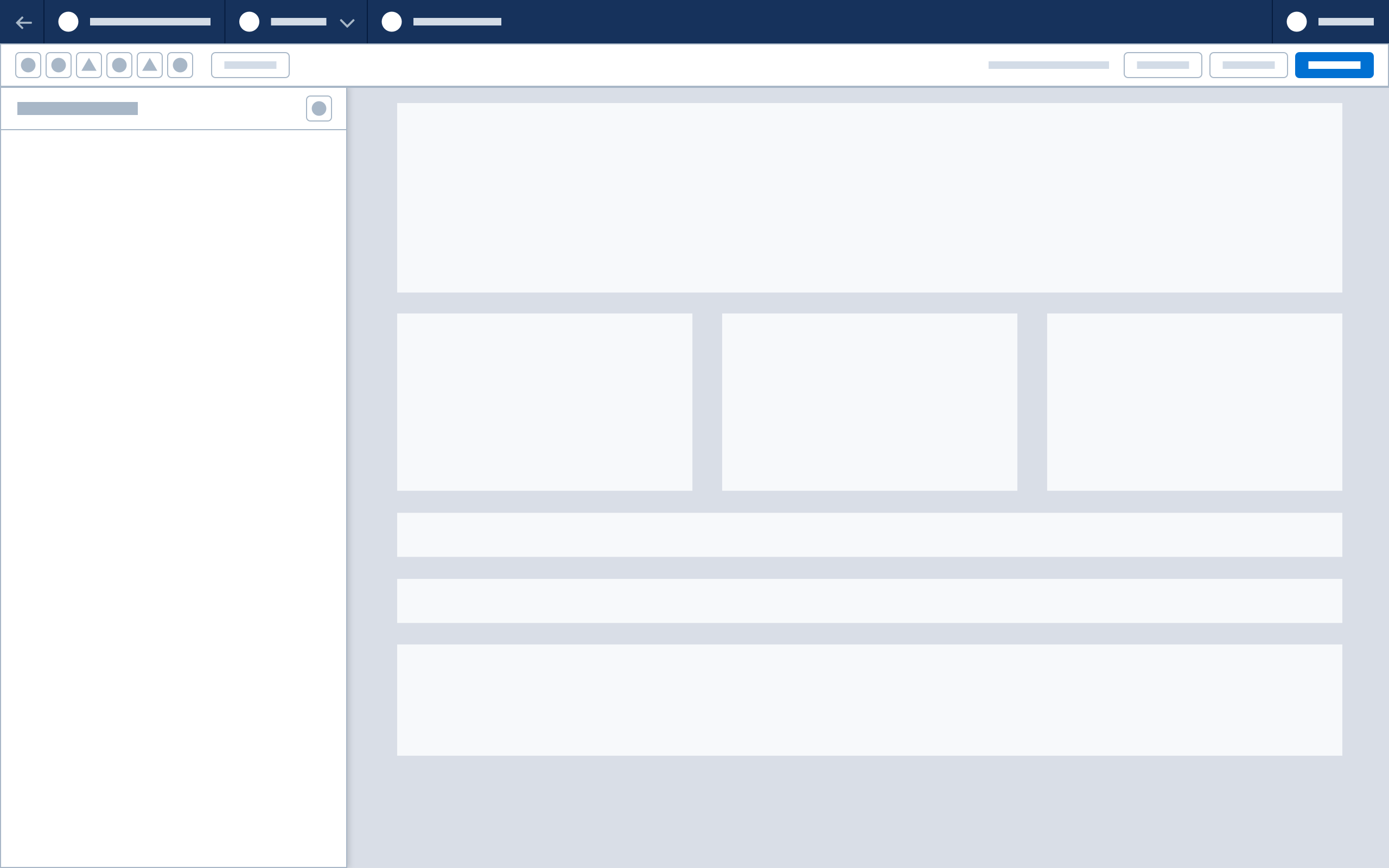 A wireframe showing panel drawer behavior.