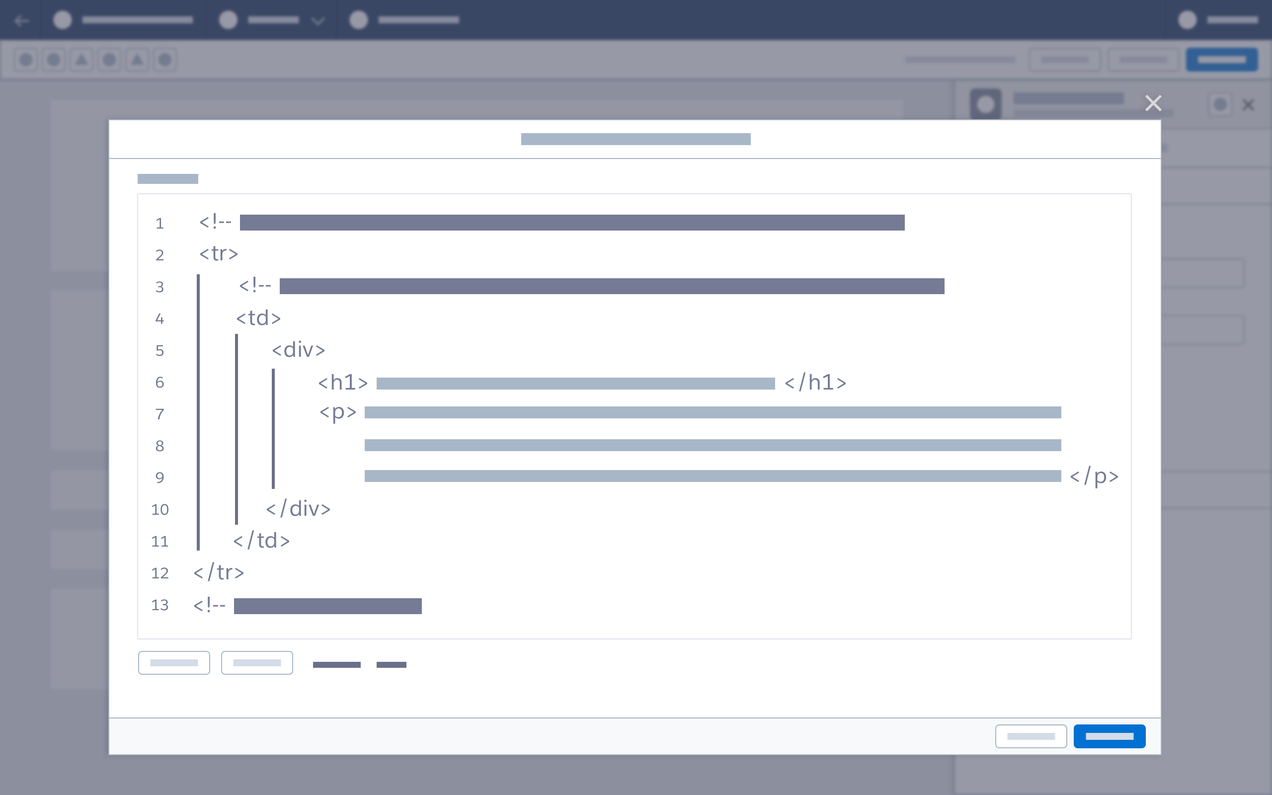 Wireframe showing an expanded view of HTML code in a modal