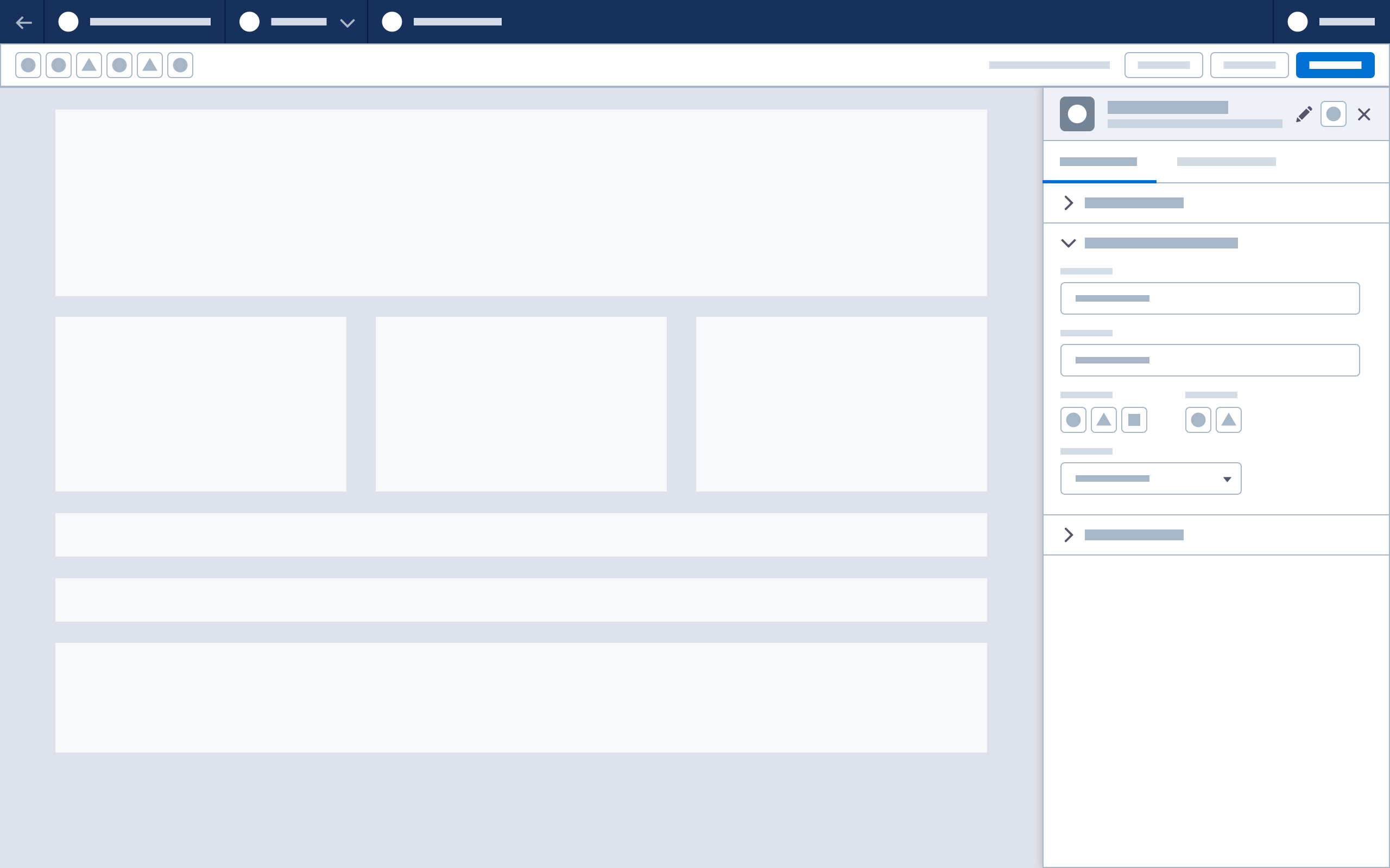 Wireframe showing the property panel with content-specific header
