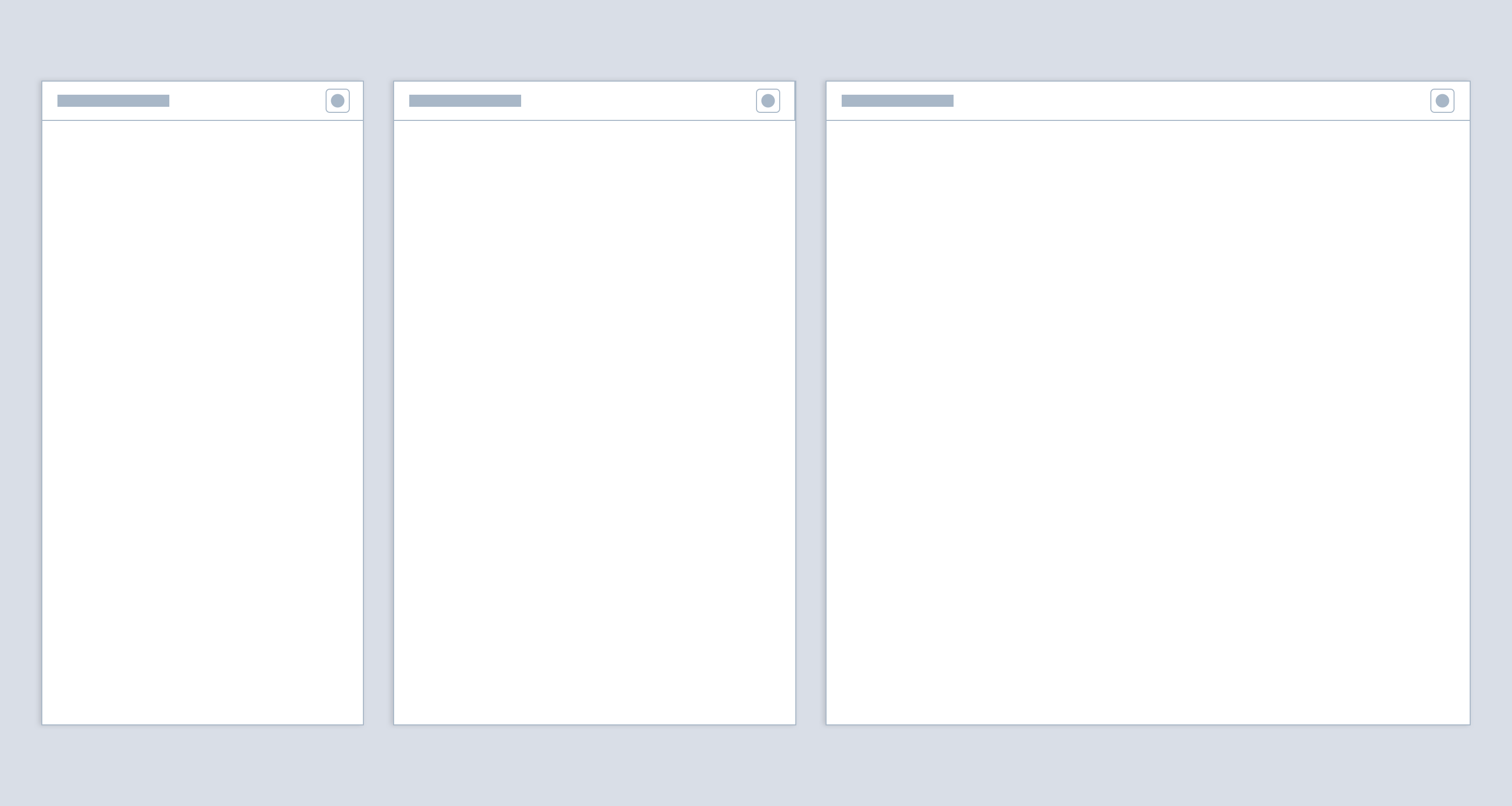 Wireframes showing panel sizing options.