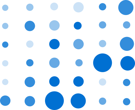 A matrix chart with each dot having the same shade of blue