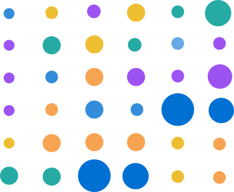 A matrix chart with each dot having a different color