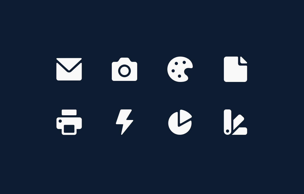 Utility icons—email, camera, palette, page, print, connected apps, chart, color swatch