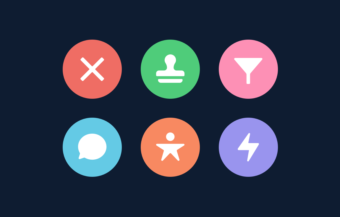 Action icons—close, submit for approval, filter, share post, new lead, fallback