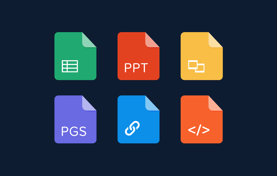 Doctype icons—Google Sheets, PowerPoint, Google Slides, pages, link, html