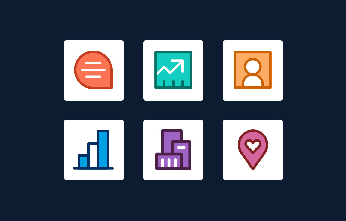 Product icons—quip, sales, social studio, analytics, industries, field service
