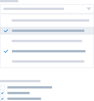 Two wireframes, one showing a multi select combobox, the other a multiple choice question with check boxes.