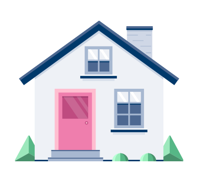gray house with pink door and gray steps