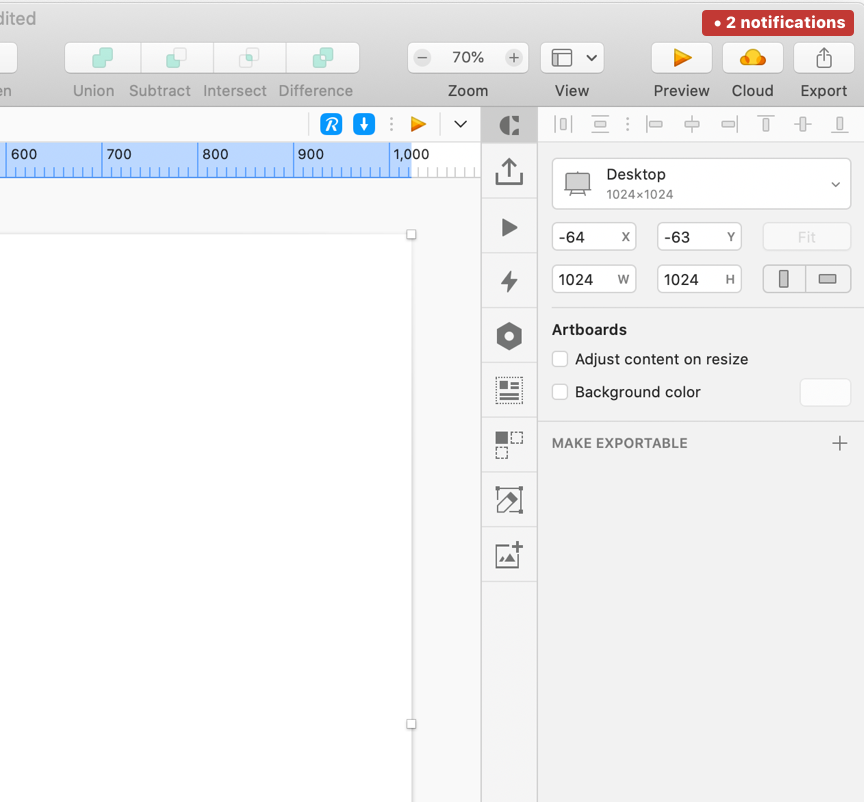 Screenshot of upper right corner of Sketch interface with 2 notifications